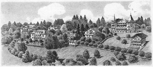 Ausschnitt aus: Pension Felsberg. Postkarte, Verlag Huber & Amacher, in Privatbesitz