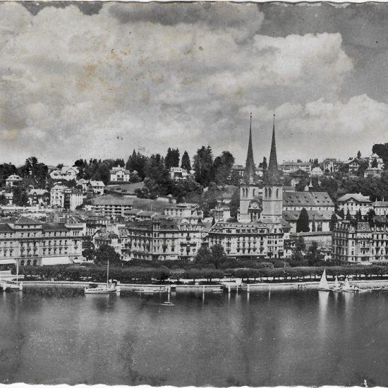 Luzern, Hofkirche und Quai. Postkarte, in Privatbesitz