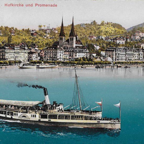 Luzern, Hofkiche und Promenade. Postkarte, Verlag Photoglob Nr. 2054, versendet 1911, in Privatbesitz