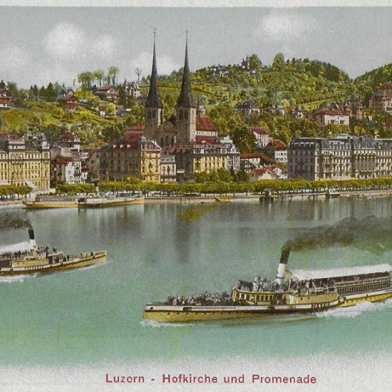 Luzern, Hofkirche und Promenade: Postkarte, Verlag Photoglob Nr. 2054, in Privatbesitz