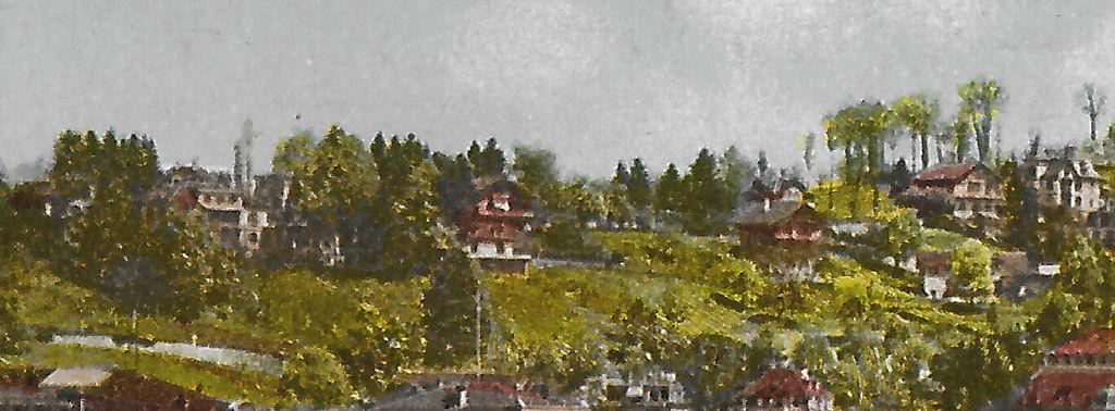 Pension Felsberg, Ansicht, Ausschnitt aus: Luzern, Hofkirche und Promenade: Postkarte, Verlag Photoglob Nr. 2054, in Privatbesitz