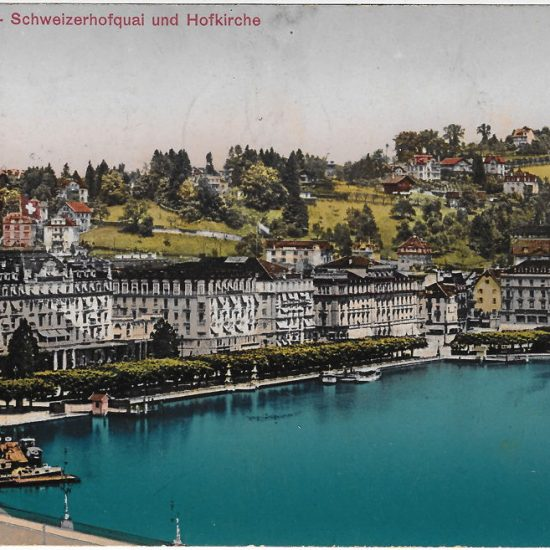 Luzern, Schweizerhofquai und Promenade. Postkarte, Verlag Photoglob Nr. 4123, versendet 1913, in Privatbesitz