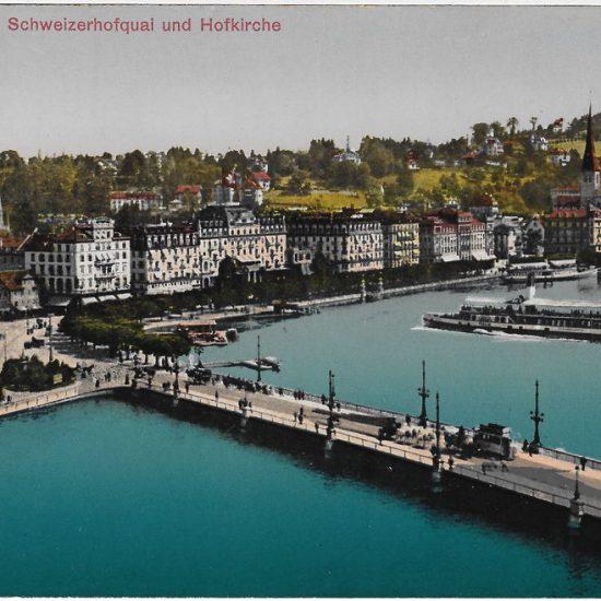 Luzern, Schweizerhofquai und Hofkirche. Postkarte, Verlag Photoglob Nr. 4406, in Privatbesitz