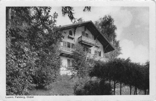 Chalet Felsberg. Postkarte, Verlag Goetz Nr. 7486, in Privatbesitz