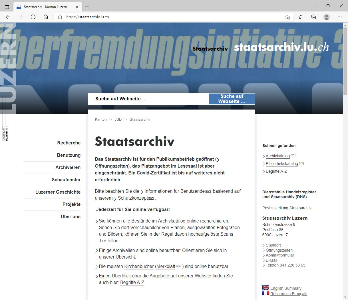 Website Staatsarchiv Luzern